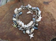 something blue: bracelet with blue freshwater pearls, sea glass, and starfish charms