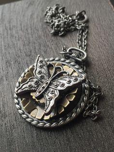 Gear Butterfly Necklace  Silver Butterfly by ArcanumByAerrowae