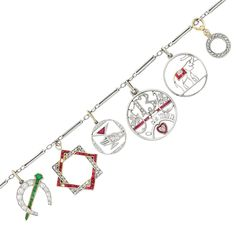 Platinum, Gold, Diamond and Gem-Set Charm Bracelet Composed of elongated platinum links suspending 8 charms set with round, single and rose-cut diamonds, rubies and emeralds, circa 1905 and 1920, 6 rubies missing, approximately 11.3 dwts. Length 7 inches.