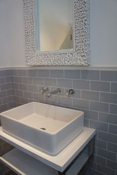 These photos were sent in from an interior designer who created this beautiful bathroom using our Grey Flat Retro Metro (Toilet Top View) Grey Bathroom Tiles, Loft Bathroom, Grey Bathrooms, Bathroom Layout, White Bathroom, Beautiful Bathrooms, Small Bathroom, Grey Tiles, Belfast Sink In Bathroom
