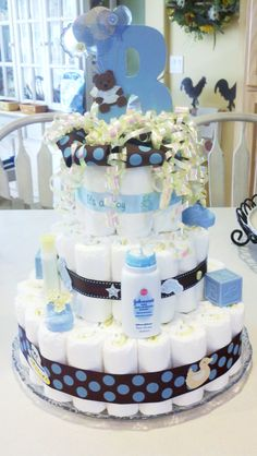 "Baby Boy Diaper Cake - it even has a ""B"" for Best."