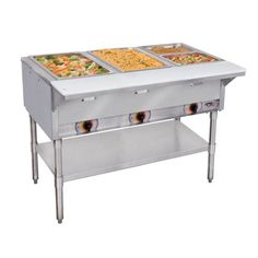 """240 Volts APW Wyott PSST4S Portable Steam Table - 4 Well - Sealed Well Standard copper manifold with gate valve. Stainless steel legs and undershelf. 4"""" diameter casters. 3000W, 120V, 25.0A. Deep drawn type 304 stainless steel wells."""