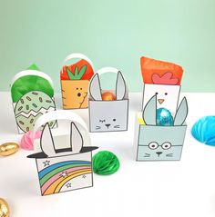 CUTE PRINTABLE EASTER FAVOR BOXES WITH COLORING OPTIONS