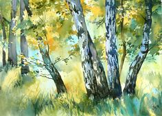 Birches by ~mashami on deviantART (watercolor painting) #Art #Landscape #WatercolorPainting