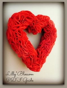 PDF 'how to make' a Valentine Felt Ruffle Wreath guide by LillyBlossom on Etsy, $6.00