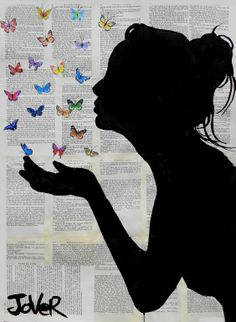 "Beautiful  Saatchi Online Artist: Loui Jover; Ink 2013 Drawing ""butterfly kisses"""