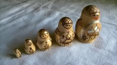 Deko-Objekte - Matroschka Puppe Holz 5 Stück Gold/Silber verziert - ein Designerstück von Grossmutters_Lieblinge bei DaWanda