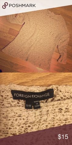 Foreign Exchange Tan tattered knit Sweater SMALL Tattered tan distressed Foreign Exchange Sweater. Gently used Foreign Exchange Sweaters Crew & Scoop Necks