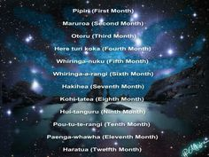 The months in te reo maori