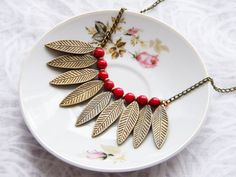 Bronze Leaf Necklace with Red Turquoise Beads Gift by kskalozubova, $17.00