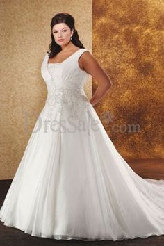 Style to try - Embroidered Plus Size Satin Wedding Dress w Tank Straps
