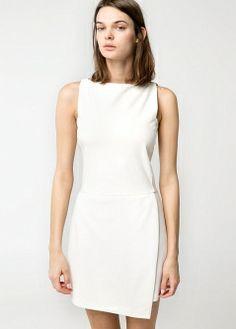 Robe à jupe portefeuille blanche - MANGO