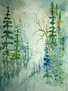 Woodland View, Print Of Original Watercolor Landscape