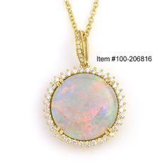 Effy 8.30 ct Australian Opal Cabochon Round & 0.47 ctw Diamond Round 18K Yellow Gold Pendant Length 18