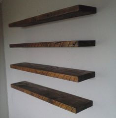 Four (4) 40 Inch Floating Shelf / Reclaimed Pine Wood from Barn / Choose Stain / Each Shelf is Unique / FREE SHIPPING