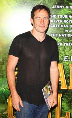 """ Jason Isaacs arriving at the opening night of 'The Railway Children' "" Jason in a (see-through) black t-shirt >."