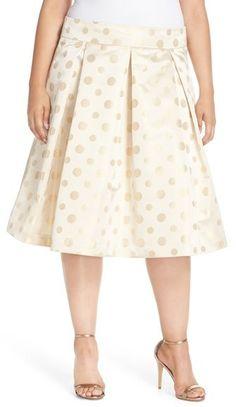 Cute! Plus Size Dot Jacquard Pleat Full Skirt