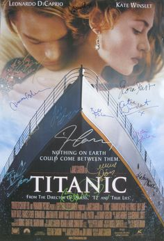 TITANIC original 27x40 movie poster cast signed by Leonardo DiCaprio, Kate Winslet, Billy Zane, Kathy Bates, Gloria Stuart, Bernard Hill, David Warner, Frances Fisher, Bill Paxton, Victor Garber, Ioan Gruffudd, recording artist Celine Dion & director James Cameron.