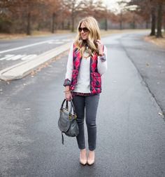 J.Crew Buffalo Check Vest paired with a white sweater layered with grey plaid...click through to get all the outfit details!