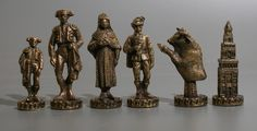 Chess set ca. second half of the 20th century. Made in Spain out of metal in a Bullfighting style.