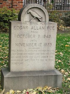 Five Famous People Who Were Exhumed and Then Buried Again - InfoBarrel Article. Picture of the headstone marking original burial place of Edgar Allan Poe