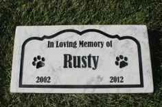 Sandblast Engraved Marble Pet Memorial Headstone Grave Marker Dog Cat bordr 6x12 from GraphicRocks