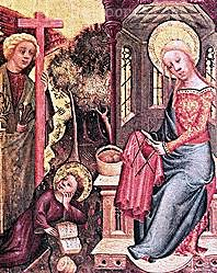 Knitting history - Mary knits with five dpns. Bertram's Bexterhude http://es.wikipedia.org/wiki/Maestro_Bertram