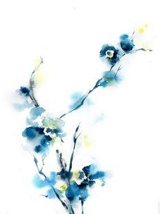 Watercolor Art Print - Blue Blossoms - Abstract - Minimalist - Modern - Floral - Wall Art - Watercolor Painting Art #etsymntt #etsyretwt