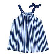 A-Form. Jersey-Träger für angenehmes Tragen, mit Schleife links. Der silikonierte Strick macht die Ware weich und geschmeidig, für einen fließenden Effekt. Ein leichtes Kleid, zugleich elegant und feminin. 100% Baumwolle.