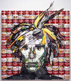 Pop Art Mosaic Trash - Andy Warhol soup can portrait by Jason Mecier Andy Warhol, 3d Portrait, Mosaic Portrait, Collage Portrait, Collage Art, Art Watercolor, Trash Art, Found Object Art, Junk Art