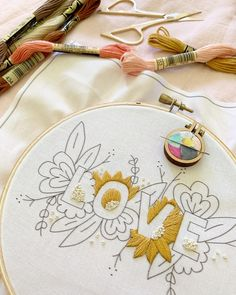 """This was the scene today. I really enjoy putting our """"Love"""" design togetherThis was the scene today. I really enjoy sewing our """"Love"""" design in - TrendsPersonalized Leaves Design Hand Embroidery Monogram Hoop / Flower Embroidery Designs, Learn Embroidery, Hand Embroidery Stitches, Embroidery Hoop Art, Cross Stitch Embroidery, Embroidery Ideas, Embroidery For Beginners, Embroidery Techniques, Diy Embroidery On Clothes"""