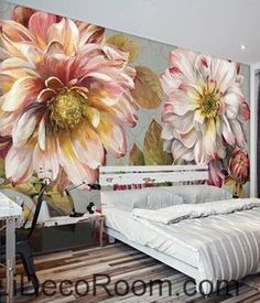 Image of Vintage Large Flower Leaves Wallpaper Wall Decals Wall Art Print Mural Home Decor Gift Framed Wall Art, Wall Art Decor, Wall Art Prints, Mural Art, Wall Murals, Wallpaper Wall, Bedroom Wallpaper, Rose Oil Painting, Painting Art