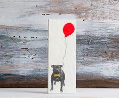 Party Animal Bull DOG Original Encaustic Mixed Media Painting Vintage Dog Photo Art