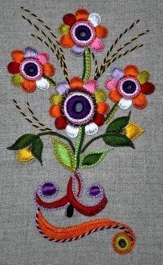 Glazig Flowers kit Glazig School of Art Bordado Pascal Jaouen Quimper Hand Embroidery Dress, Embroidery Suits Design, Embroidery Flowers Pattern, Embroidery Works, Crewel Embroidery, Hand Embroidery Designs, Ribbon Embroidery, Floral Embroidery, Bordado Floral
