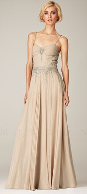Great Gatsby Prom Dresses -  Mignon Spring 2014 - Champagne Beaded Chiffon Low Back Prom Dress $558.00  #prom #greatgatsby