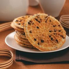 For all that miss a good Pizzelle ..... try these. Hazelnut Chocolate Chip- Ingredients: * 4 eggs; * 1 cup sugar; * 3/4 cup butter, melted; * 2 cups all-purpose flour; * 1/2 cup finely chopped hazelnuts, toasted; * 1/2 cup miniature semisweet chocolate chips