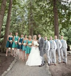 How is this for a different take on a wedding colour theme! Gorgeous teal shades complimented with grey.