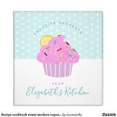 Recipe cookbook sweet modern cupcake hearts, aqua 3 ring binder