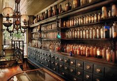 $32 Mike Savad - Boy, you had to have a good memory in those days, I suppose they had tonics for that. Look at all those bottles and drawers. Each had some off remedy or ingredient in them. It's mind boggling just how many there are. Of course on the other hand, we too have many bottles that all look the same, only they are plastic and not nearly as quaint. But they just as easy to open.