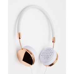 FRENDS Layla Rose Gold Headphones (€195) ❤ liked on Polyvore featuring accessories, tech accessories, apple iphone headphones, frends headphones, rose gold headphones and iphone headphones