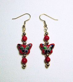 Red Cloisonne Butterfly Earrings with Red Coral and Gold Plated Ribbed Beads by JewelrybyIshi, $12.50
