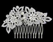 Vintage Inspired Swarovski Crystal Wedding Flower Faux Pearl Hair Comb, Bridal Flower Jewelry, Clear Rhinestone Silver Tiara-110052963