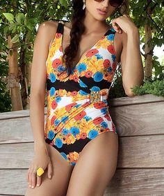This Black & Orange Garden of Eden One-Piece is perfect! #zulilyfinds