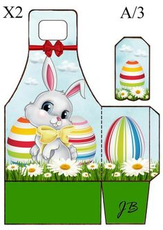 Cajita de Pascua con etiqueta.