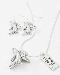 Antique Silver Tone / Lead Compliant / Metal / Animal / Pig W/ Message 'when Pigs Fly'/ Pendant Necklace & Fish Hook Earring Set