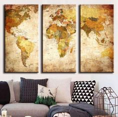3 panel vintage world map canvas painting oil painting print on vintage world map canvas oil painting for living room gumiabroncs Image collections