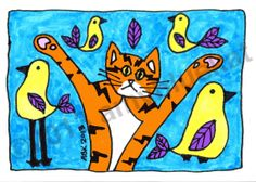 Cat Art 5 x 7 Orange Cat Yellow & Purple Birds Gift by AmyBlueKat, $10.00