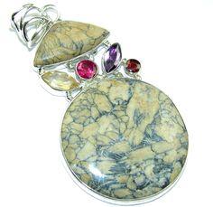 $41.25 Simple+Frog+Skin+Jasper+Sterling+Silver+Pendant at www.SilverRushStyle.com #pendant #handmade #jewelry #silver #jasper
