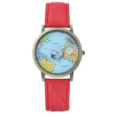 Faux Leather World Map Airplane Watch Red ($5.25) ❤ liked on Polyvore featuring jewelry, watches, red jewellery, world map jewelry, faux leather watches, red wrist watch and vegan watches