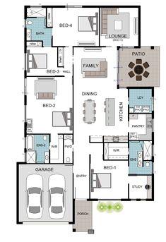 Custom 4 Bedroom Home in Mt Margaret · Grady Homes My House Plans, House Floor Plans, Granny Flat Plans, House Floor Design, Plans Architecture, Box Houses, Best Flooring, House Blueprints, Home Design Decor